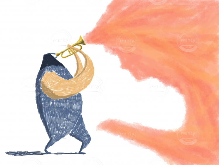 Jazz player on a trumpet playing colors