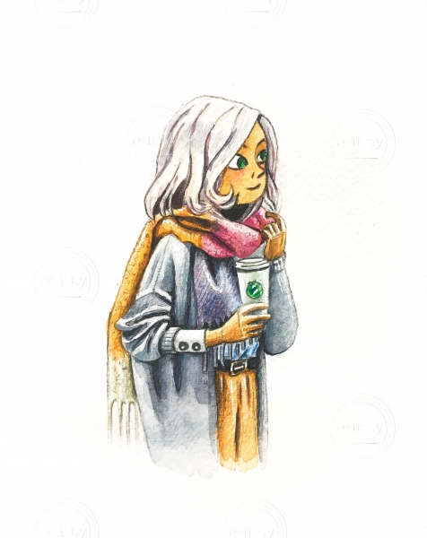 The girl with coffee to go