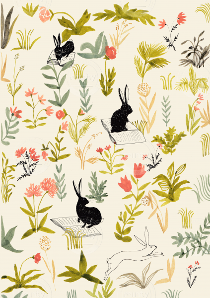 Little rabbits jumping on a meadow