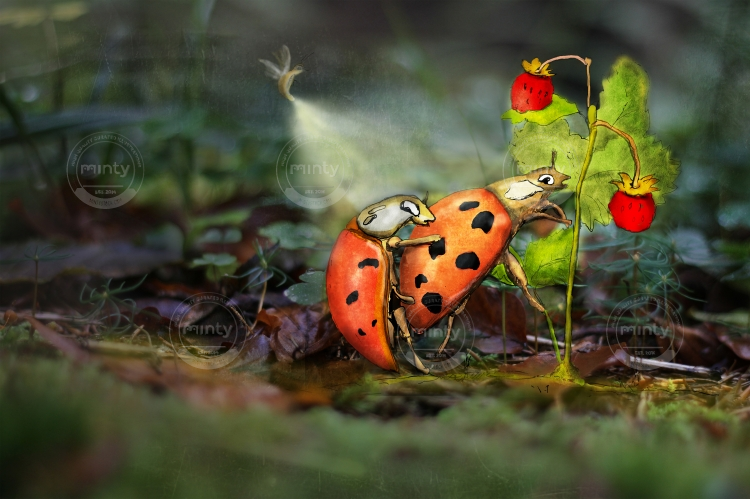 Ladybugs reproducing near forest strawberries