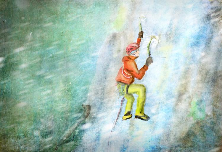 Mountaineer climbing ice slather