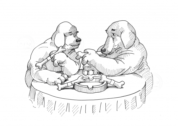 Two dogs smoking a bone