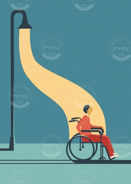 Disabled person under the lamp light