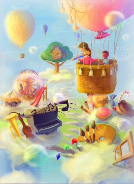 Children in a dreamy fairy land in a balloon
