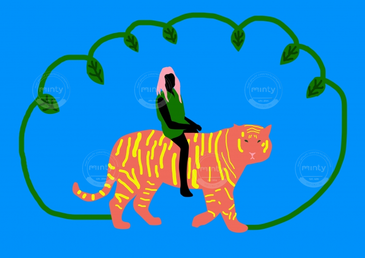 Tiger rides in the jungle