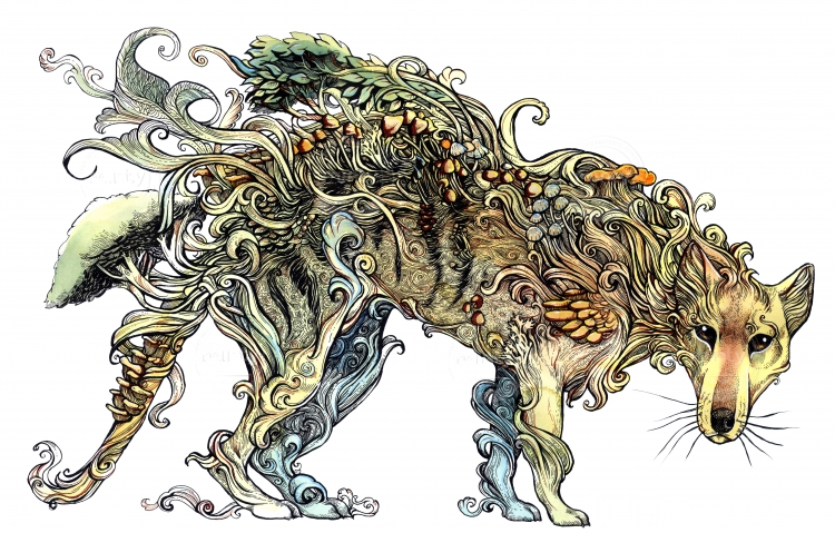 Line drawing of a Thylacine covered in mushrooms and plants, as a symbol for its extinction and it becoming some sort of forest spirit.