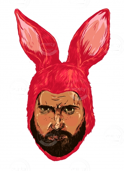 Angry Bunny men in a mask of a red rabbit