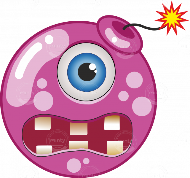 Cartoon magenta bomb