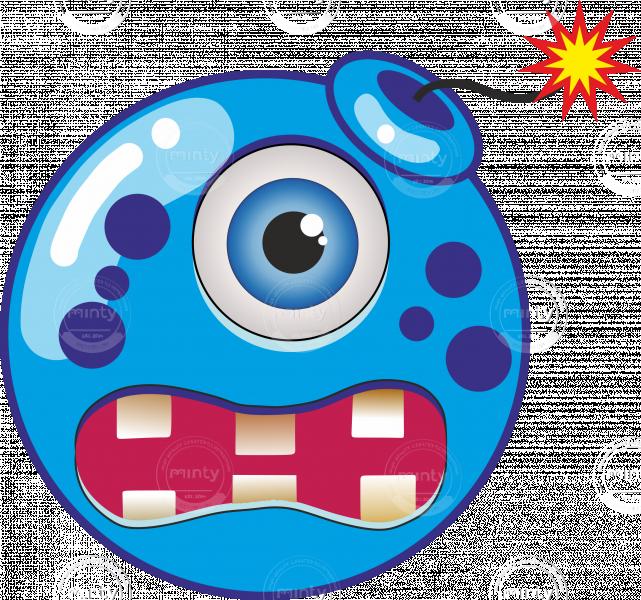 Blue cartoon bomb