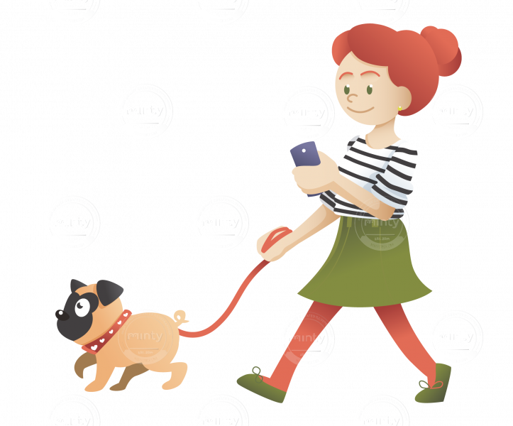 A redhead girl walking with her pug and checking her smartphone.