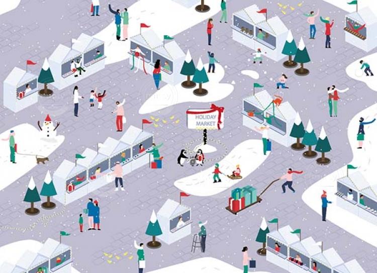 Holiday market on Christmas season