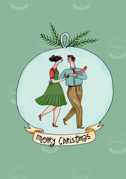 Dancing couple in a Christmas ball
