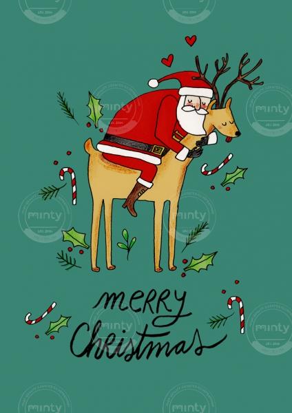Santa hugging reindeer on Christmas Postcard