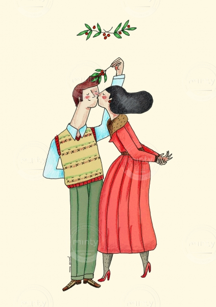 Kissing couple under the Christmas mistletoe