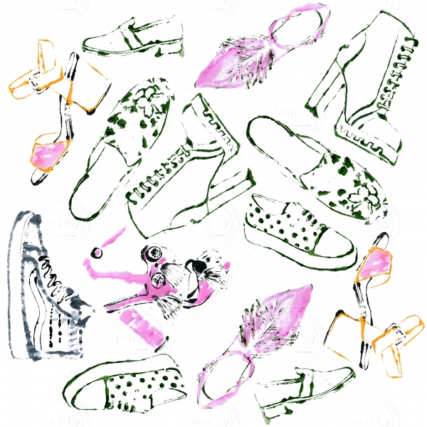 Different shoes: sandals, flats, sneakers etc pattern