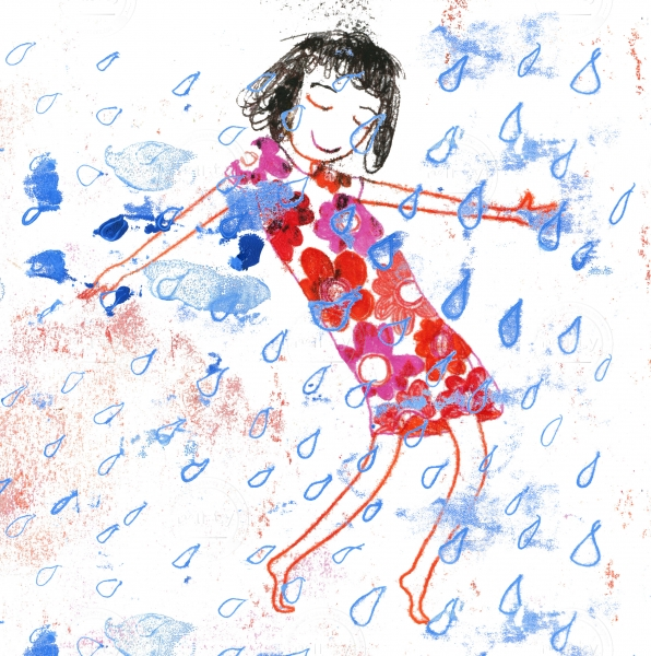 Woman dancing in the rain in a red dress with flower pattern