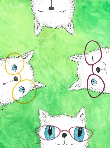 Cats Akvarel Kresba A3 2017 Illustration Price Minty