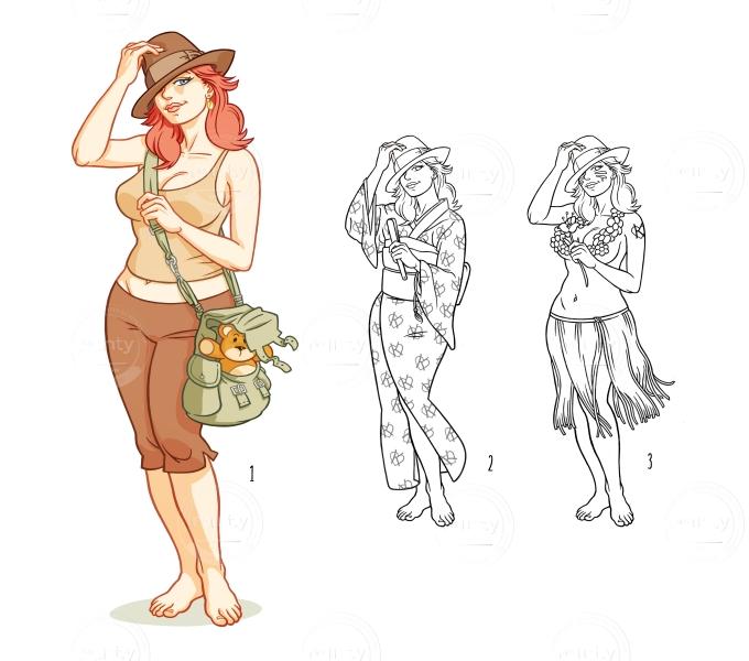 Adventurer girl - like Indiana Jones -with teddy bear (and variants)
