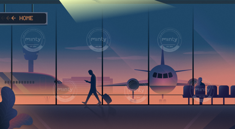 Man walking at airport
