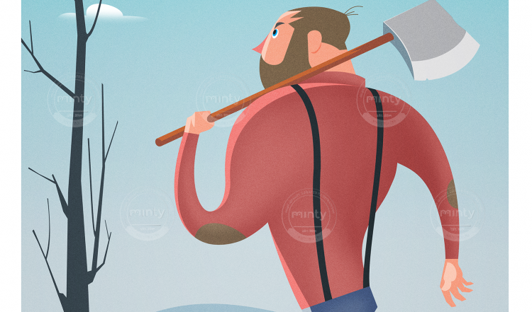 Lumberjack with an axe going to the forest