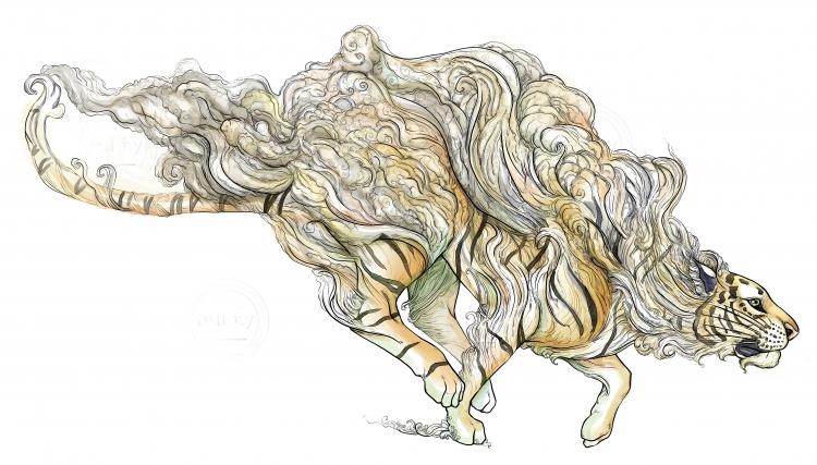 Running tiger disolving into smoke