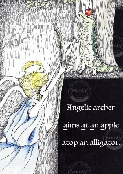Angelic archer aims at an apple atop an alligator