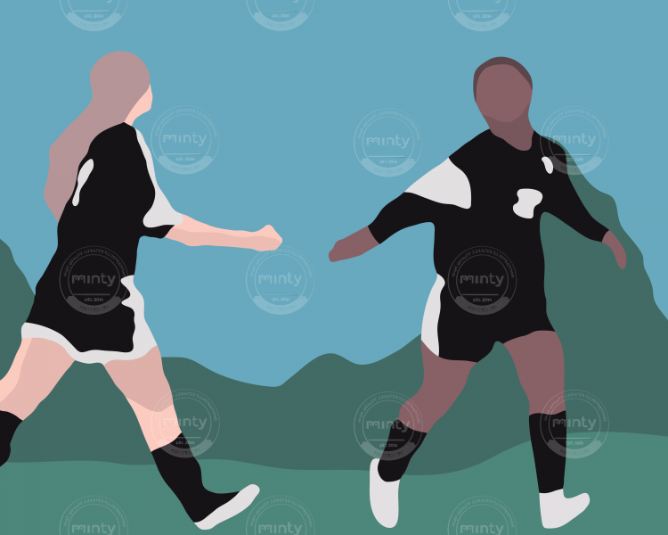 Two girls high fiving while playing soccer