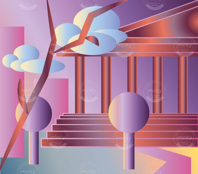 Nature and architecture atmosphere with blush gradients