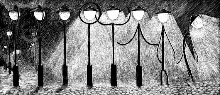 Lantern at night gets alive