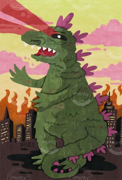Godzilla destroying NY