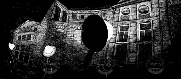 Lantern at night wanders around