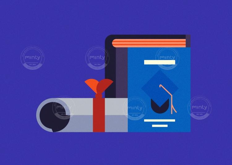 Book and graduation diploma