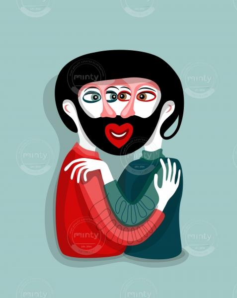 Bearded kiss