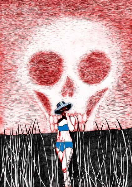 A woman is standing in the sun with a sunhat and a bikini. The sky is has formed a skeleton.