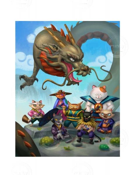 Cat Ninjas meet Dragon