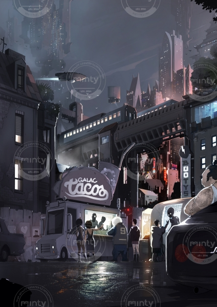 People buying some street food from foodtruck in a scifi city