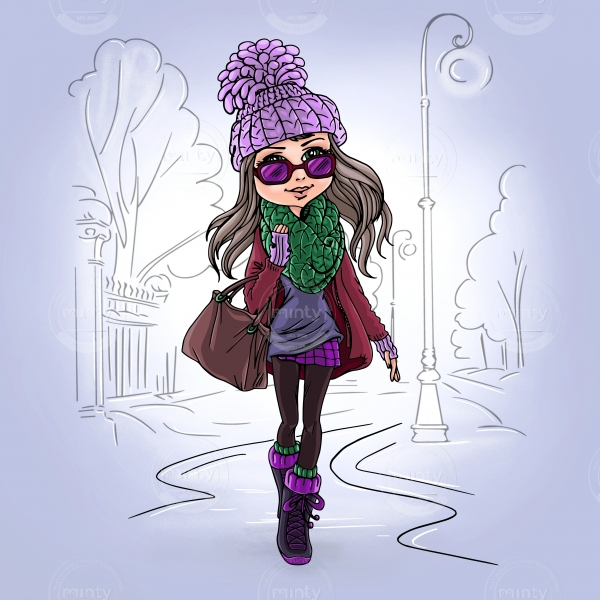 Fashionable girl walks in the park enjoying the winter
