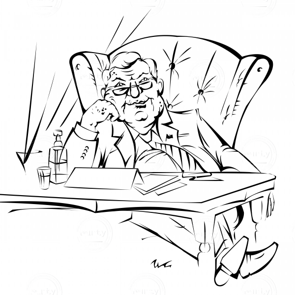 The big boss sits in an armchair dreaming after noon