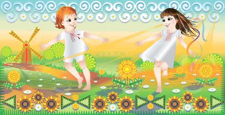 Carefree children play fun in nature in summer