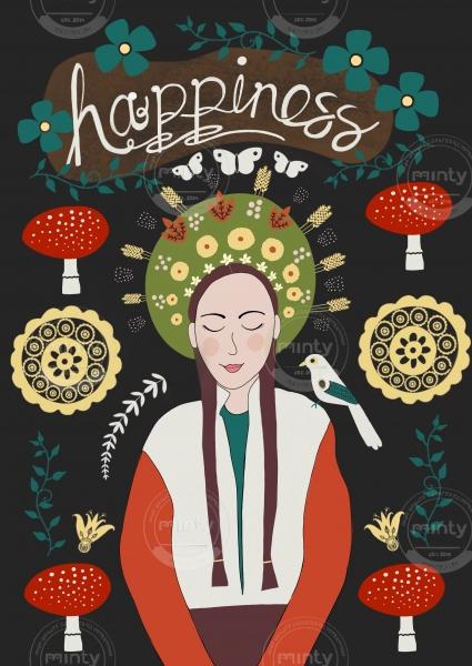 folk style woman with mushrooms