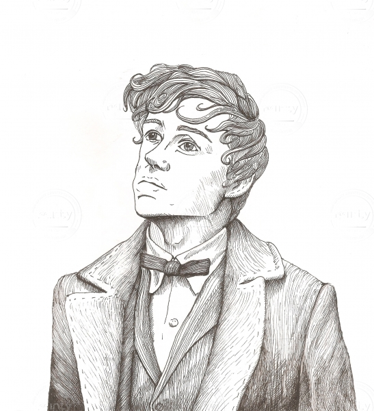 Pencil painting of a young man