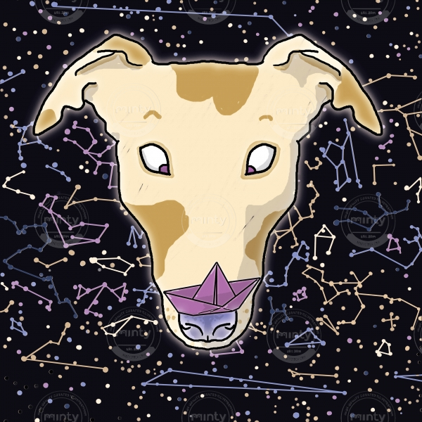 Constellation of the dog - funny space greyhound with spots holding a paper boat on its nose