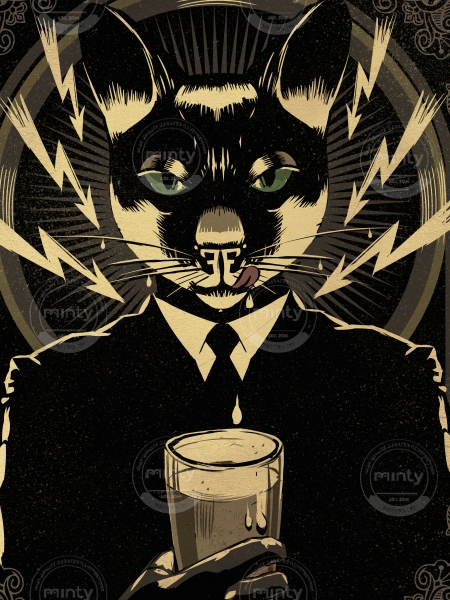 Cat the magician drinking milk or beer, as you wish!