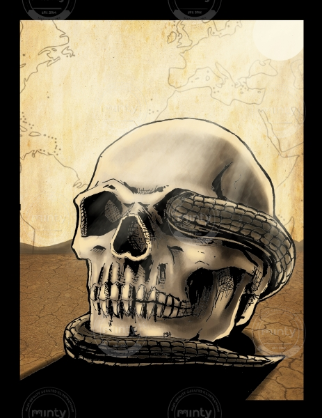 Snake wrapped around desert skull.