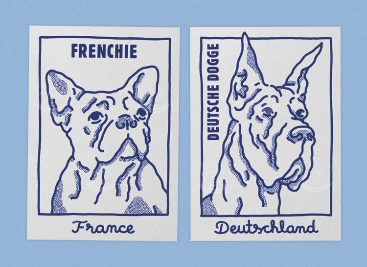 Postal cards with two dog portraits, a frenchie and Great dane
