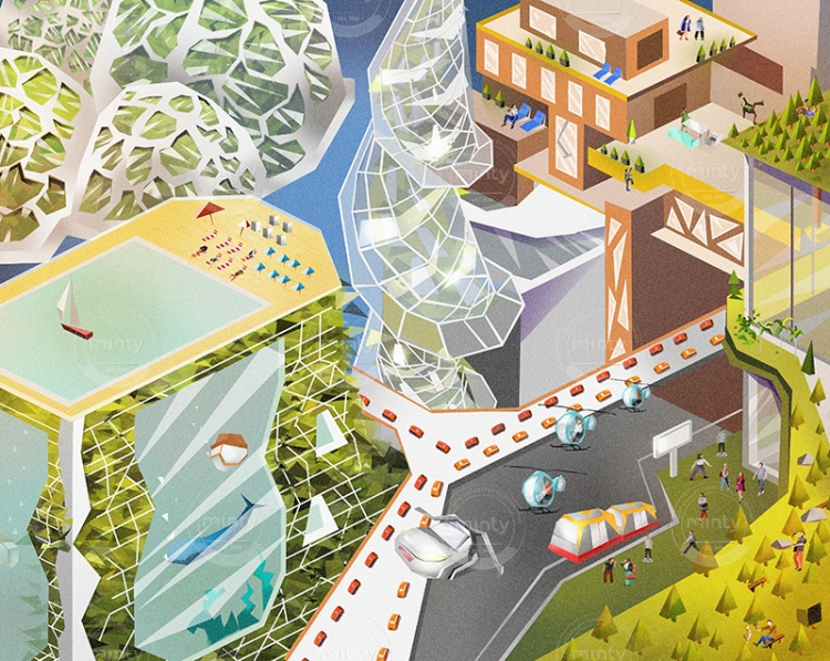 The city of future including flying cars and futuristic architecture