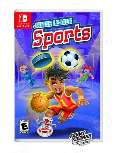 Junior League Sports african american boy basketball player video game box packaging illustration