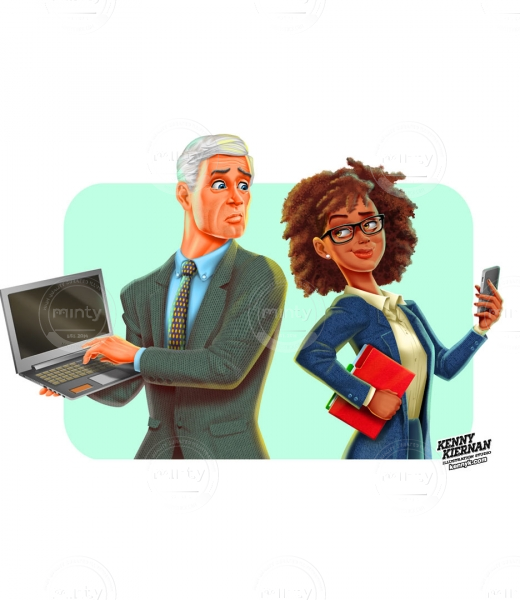 Old white guy and young black woman, iphone vs. laptop editorial illustration