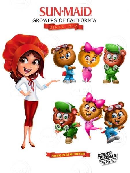 Sun Maid girl and bears mascot rebranding