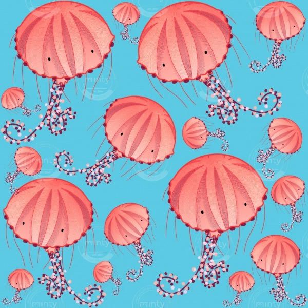 Chrysaora Hysoscella Jellyfish of the Mediterranean Sea colorful pastel pink pattern on pale blue background